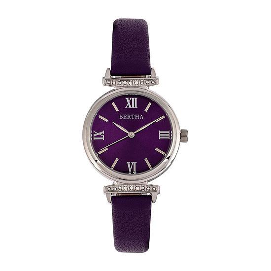 Bertha Womens Purple Leather Strap Watch-Bthbr9602
