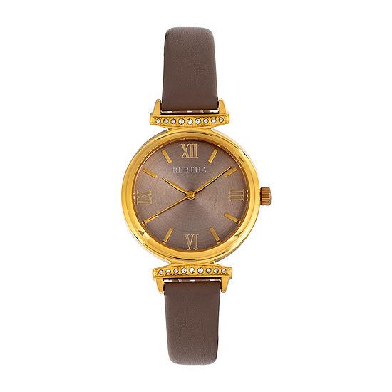 Bertha Womens Gray Leather Strap Watch-Bthbr9603