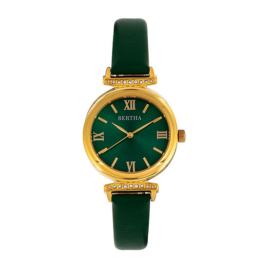 Bertha Womens Green Leather Strap Watch-Bthbr9604
