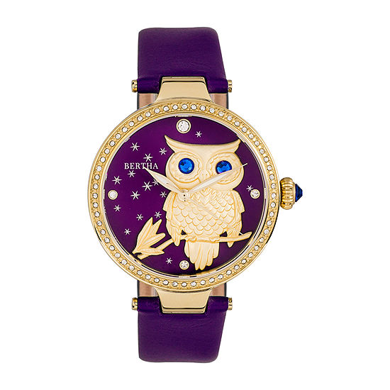 Bertha Womens Purple Leather Strap Watch-Bthbr8804