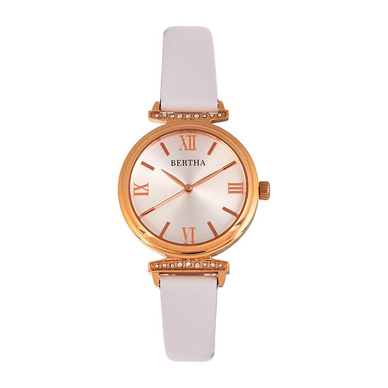 Bertha Womens White Leather Strap Watch-Bthbr9605