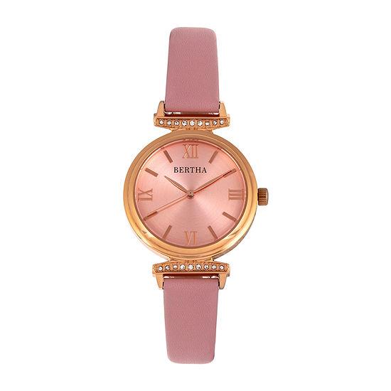 Bertha Womens Pink Leather Strap Watch-Bthbr9606