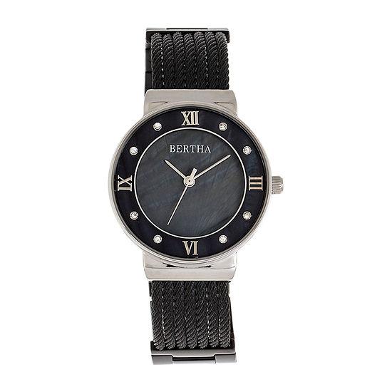 Bertha Womens Black Stainless Steel Bracelet Watch - Bthbr9702
