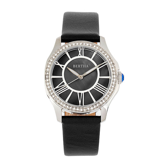 Bertha Womens Black Leather Strap Watch-Bthbr9801