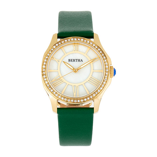 Bertha Womens Green Leather Strap Watch-Bthbr9803
