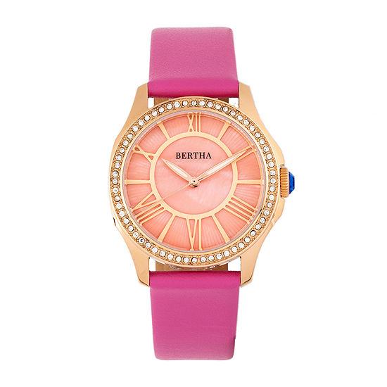 Bertha Womens Pink Leather Strap Watch-Bthbr9805