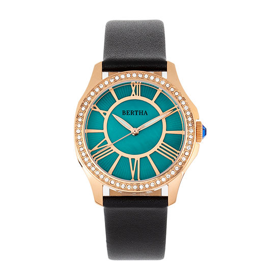 Bertha Womens Black Leather Strap Watch-Bthbr9806