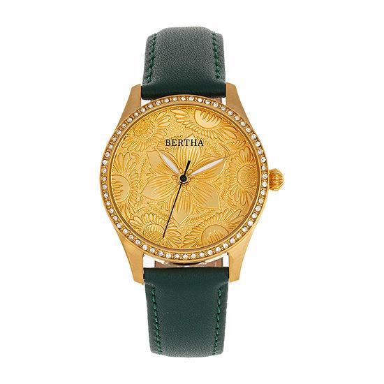 Bertha Womens Black Leather Strap Watch-Bthbr9904