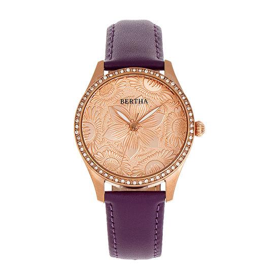 Bertha Womens Brown Leather Strap Watch-Bthbr9905