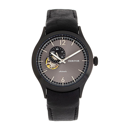 Heritor Mens Automatic Black Leather Strap Watch-Herhr8508