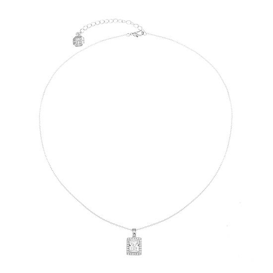 Monet Jewelry Cubic Zirconia 17 Inch Cable Rectangular Pendant Necklace