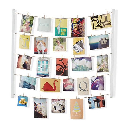 Umbra Hangit Photo Display 24-Photos Clip Frame- White Marble