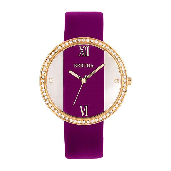 Bertha Womens Purple Leather Strap Watch-Bthbr9104