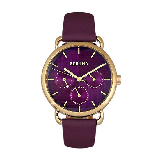 Bertha Womens Purple Leather Strap Watch-Bthbr8305
