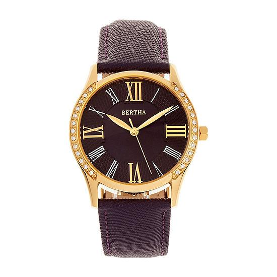 Bertha Womens Purple Leather Strap Watch-Bthbr8403