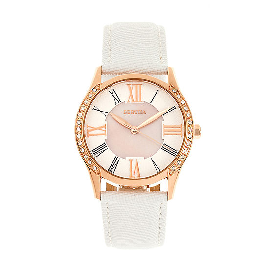 Bertha Womens White Leather Strap Watch-Bthbr8404