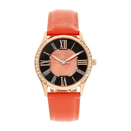 Bertha Womens Pink Leather Strap Watch-Bthbr8406