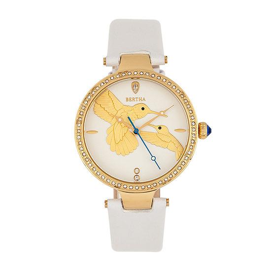 Bertha Womens White Leather Strap Watch-Bthbr8505