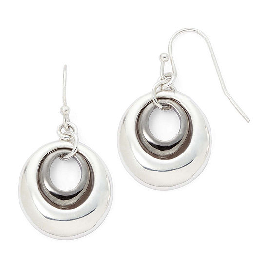 Liz Claiborne® Two-Tone Circle Drop Earrings