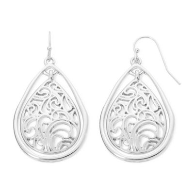 Liz Claiborne® Silver-Tone Lacy Teardrop Drop Earrings