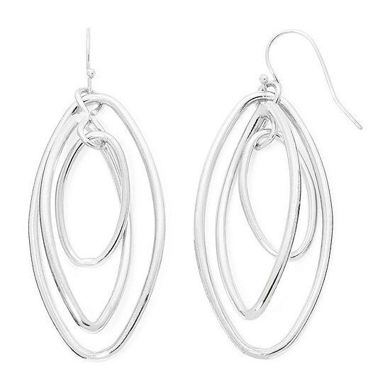 Liz Claiborne® Silver-Tone Orbital Oval Drop Earrings