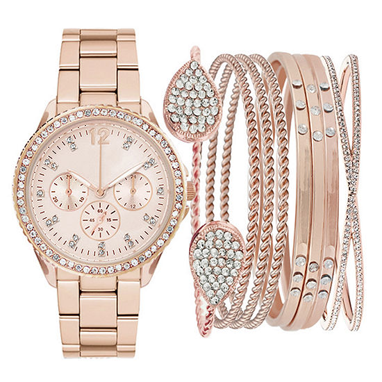 Womens Rose Gold-Tone Crystal-Accent Watch Box Set