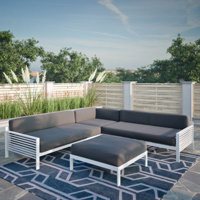 CORLIVING 4PC DARK GREY AND WHITE PATIO SECTIONALSET