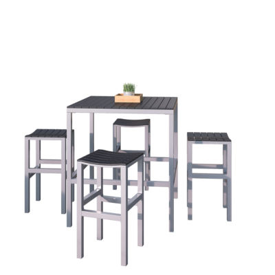5-pc. Aluminum And Black Outdoor Bar Height Bistro Set