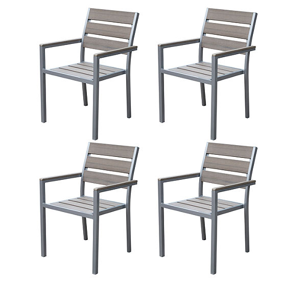 Gallant Sun Bleached Grey Outdoor Dining Chairs, Set of 4
