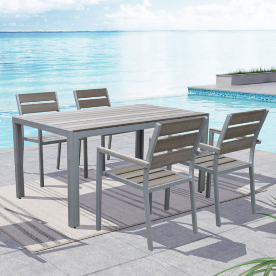 Gallant 5-pc. Sun Bleached Grey Outdoor Dining Set