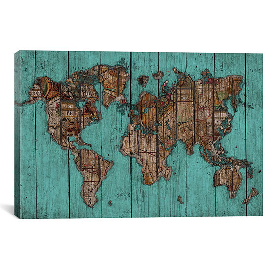 Wood Map no.2 by Diego Tirigall Canvas Wall Art
