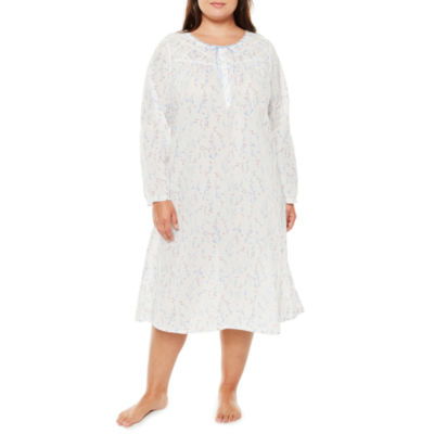 Adonna Long Sleeve Woven Nightgown-Plus