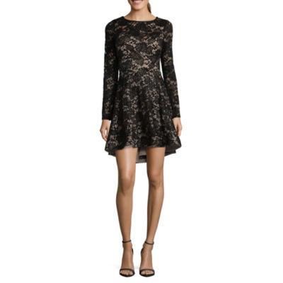 B. Darlin Long Sleeve Party Dress-Juniors