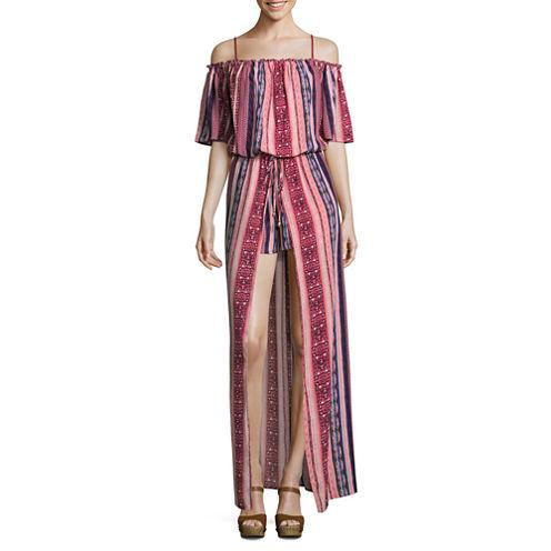 City Triangle 3/4 Sleeve Stripe Maxi Dress-Juniors