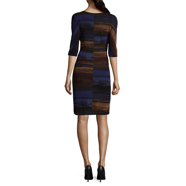 Robbie Bee 3/4 Sleeve Ombre Sheath Dress