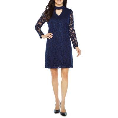 Studio 1 Long Sleeve Lace Fit & Flare Dress