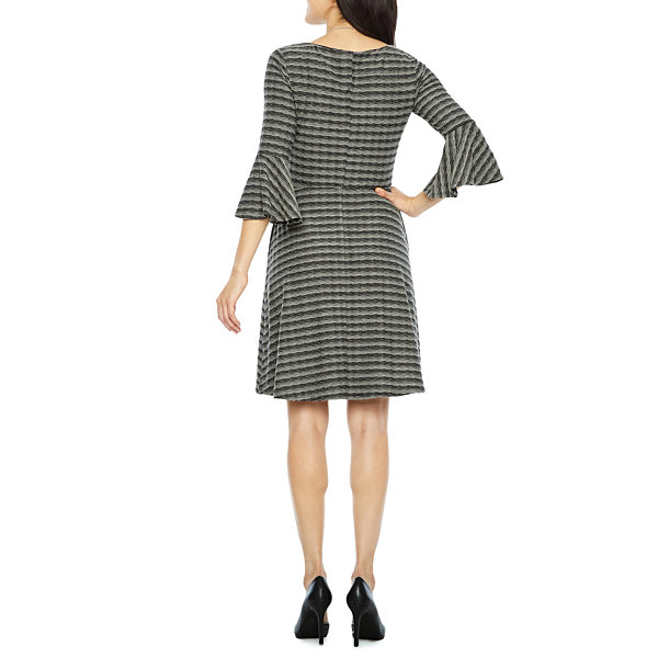 Alyx 3/4 Sleeve Stripe Fit & Flare Dress