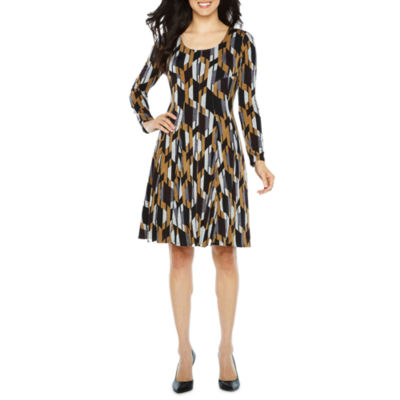 Rabbit Design Long Sleeve Fit & Flare Dress