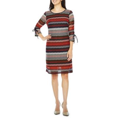 R & K Originals 3/4 Sleeve Lace Stripe Shift Dress