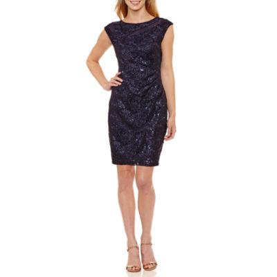 Scarlett Sleeveless Pattern Sheath Dress-Petites