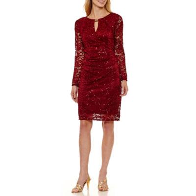 Blu Sage Long Sleeve Sheath Dress-Petites