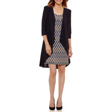 R & M Richards Sleeveless Jacket Dress-Petites