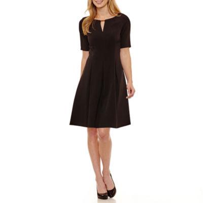 Danny & Nicole Elbow Sleeve Fit & Flare Dress-Petites