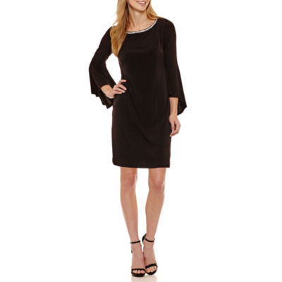 Jessica Howard Long Sleeve Beaded Shift Dress-Petites