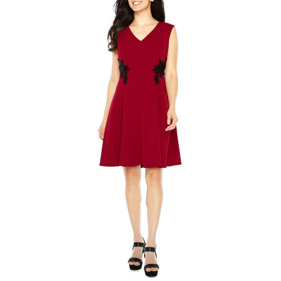 Liz Claiborne Sleeveless Embellished Fit & Flare Dress