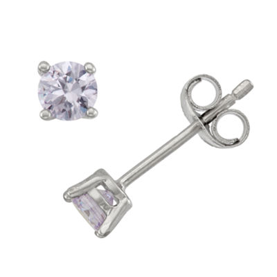 Lab Created White Cubic Zirconia Sterling Silver 4mm Stud Earrings
