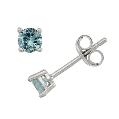 Lab Created Blue Cubic Zirconia Sterling Silver 4mm Stud Earrings