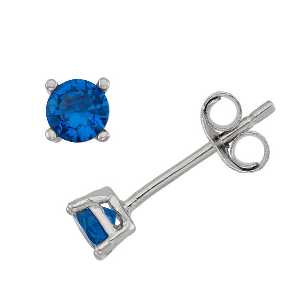 Round Blue Cubic Zirconia Sterling Silver Stud Earrings