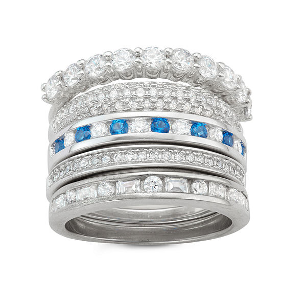 Diamonart Womens 2 CT. T.W. Lab Created White Cubic Zirconia Sterling Silver Stackable Ring
