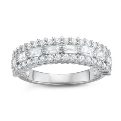 Diamonart Womens 1 1/3 CT. T.W. White Cubic Zirconia Sterling Silver Band